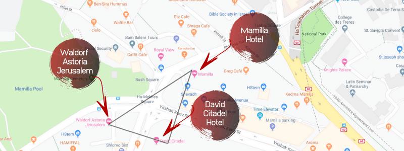 Jerusalem Luxury Hotel Triangle Map